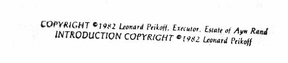 Copyright notice showing executor of Ayn Rand's estate as owner