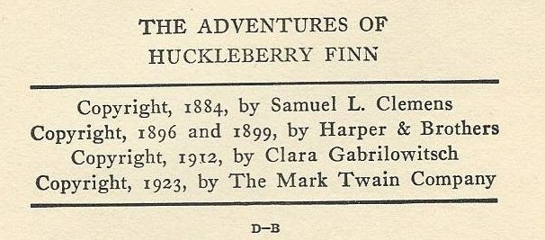 Copyright notice list for The Adventures of Huckleberry Finn