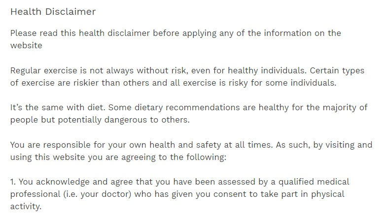 medical disclaimers  the fastest free disclaimer generator sports fitness advisor health disclaimer excerpt